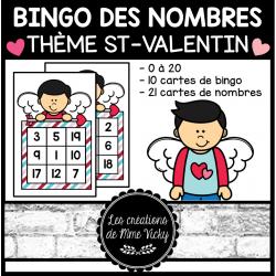 Bingo des nombres - St-Valentin (0à20)