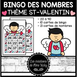 Bingo des nombres - St-Valentin (20à40)