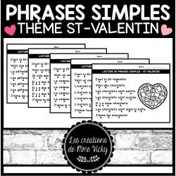 Lecture de phrases simples - St-Valentin