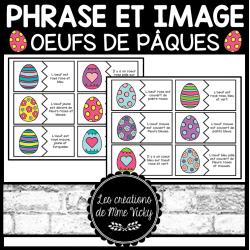 Association phrase et image - Oeufs de Pâques