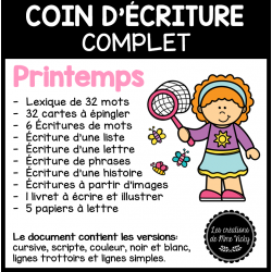 Coin d'écriture complet - Printemps