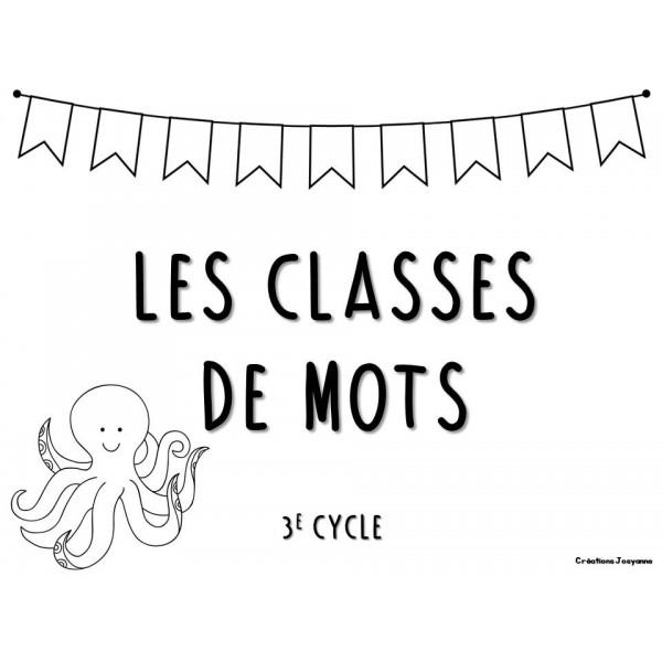 Cartes à tâches 3e cycle - Classes de mots
