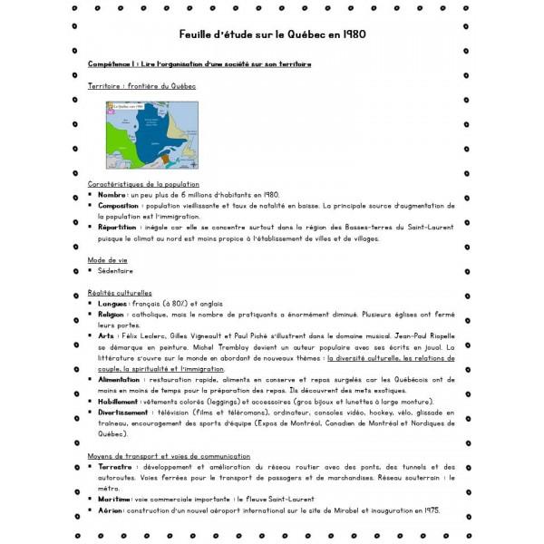Feuille d'étude + évaluation sur le Québec en 1980