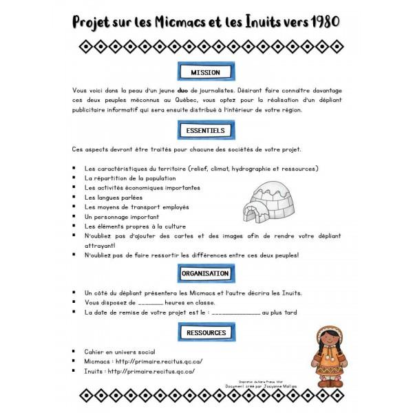 Projet sur les Micmacs et les Inuits en 1980