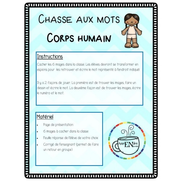 Chasse aux mots- écriture spontanée- Corps humain
