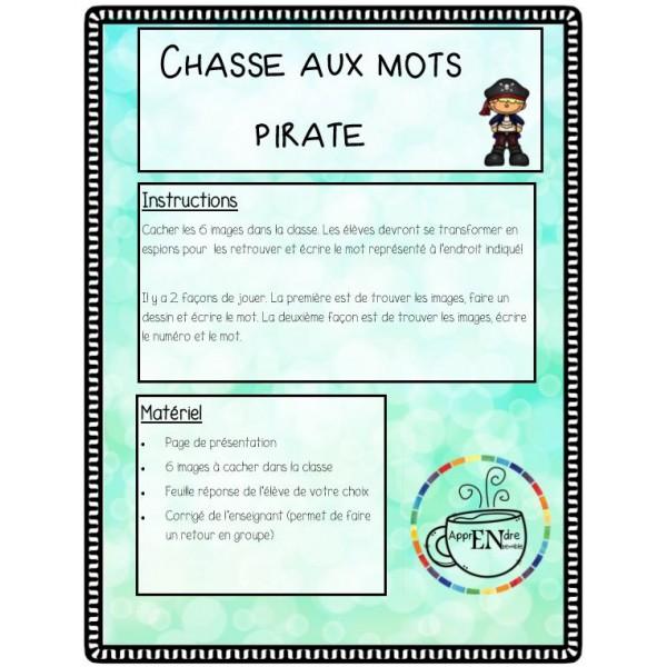 Chasse aux mots- écriture spontanée- Pirate