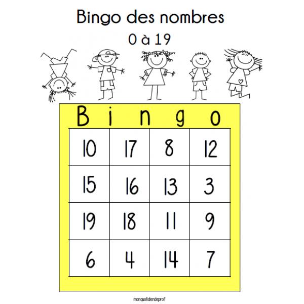 Bingo des nombres 0-19