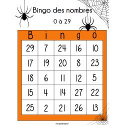 Bingo des nombres 0-29