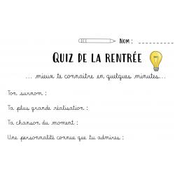 QUIZ DE LA RENTRÉE