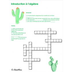 Mots croisés - Introduction à l'algèbre