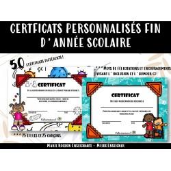 Certificats humoristiques- Fin d'année scolaire