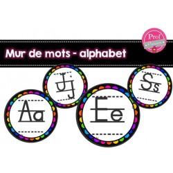 Mur de mots - lettres de l'alphabet