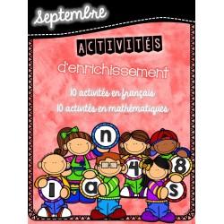 Cahier d'enrichissement - septembre
