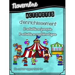Cahier d'enrichissement - novembre