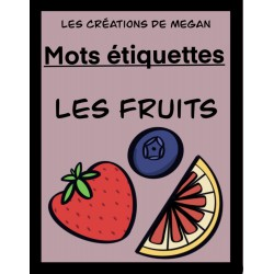 Mots étiquettes - Les fruits (Version rose foncé)