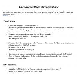 Questionnaires Canada de 1900 à 1910