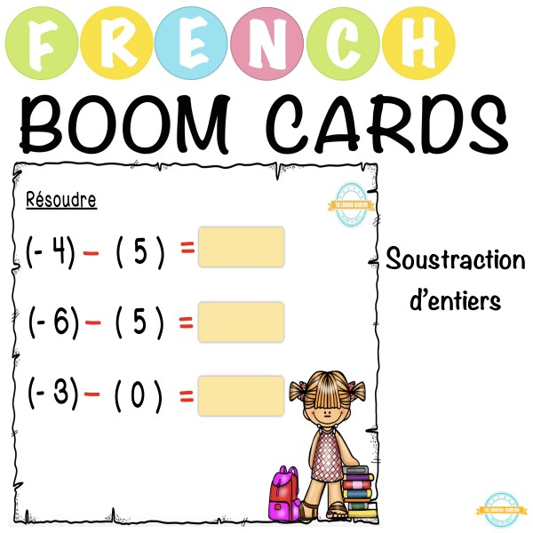 Soustraction d'entiers - French Boom Cartes™