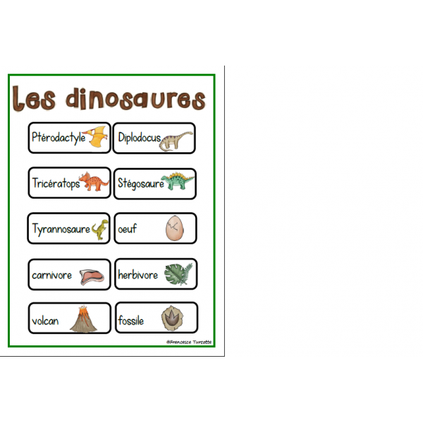 Mots-étiquettes dinosaures