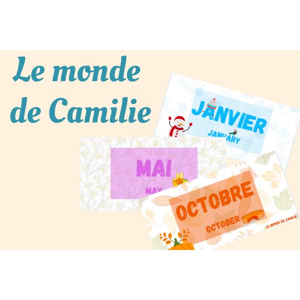 12 mois de l'année - Calendrier - Bilingue
