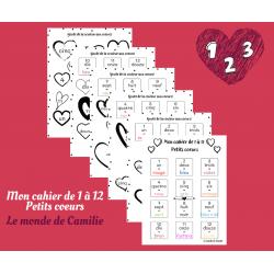 Mon cahier de 1 à 12 - Petits coeurs