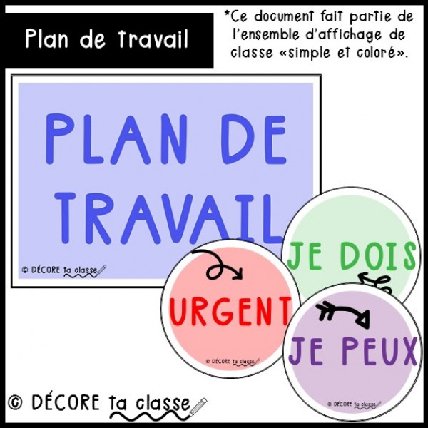 Plan de travail - ensemble simple et coloré