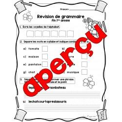 révision grammaire 1re année