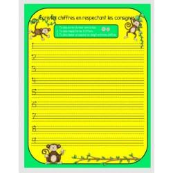 apprentissage de l'écriture des chiffres