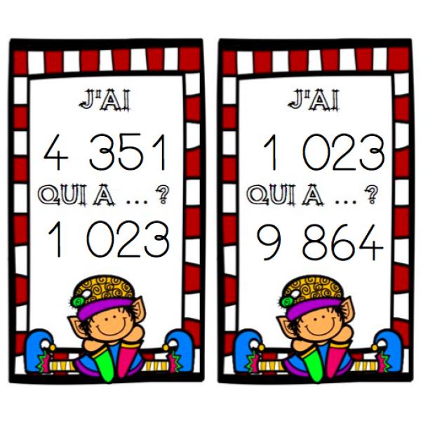 Les nombres de 0 à 9 999 Jeu J'ai qui a ?