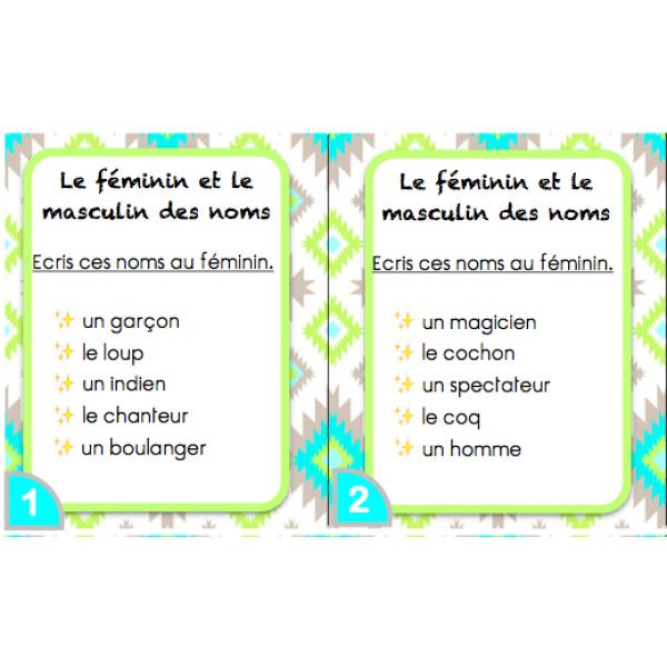 Masculin et féminin des noms cartes rituel