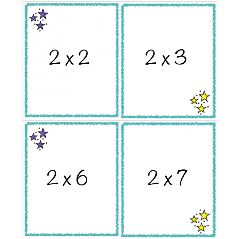 tables de multiplication jeu recto verso