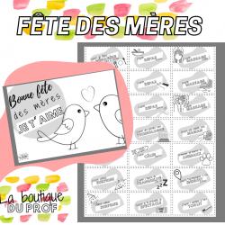 Fête des mères - Carte à colorier et coupons