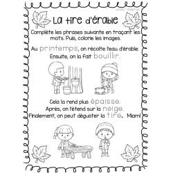 Cabane à sucre - feuille d'activité lecture