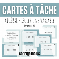 Cartes à tâches - Isoler la variable algèbre CAT