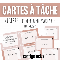 Cartes à tâches - Isoler la variable algèbre #2