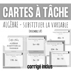 Cartes à tâches - Substituer la variable algèbre