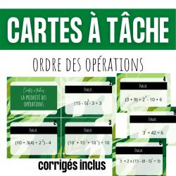 Cartes à tâches - Ordre des opérations CAT