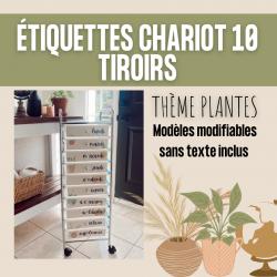 Étiquettes chariot meuble 10 tiroirs PLANTES