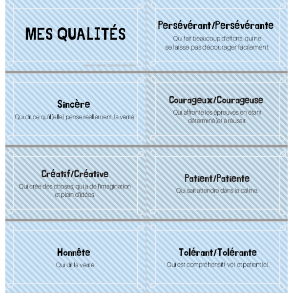 porte-clé des qualités