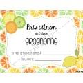 Certificats Prix citron