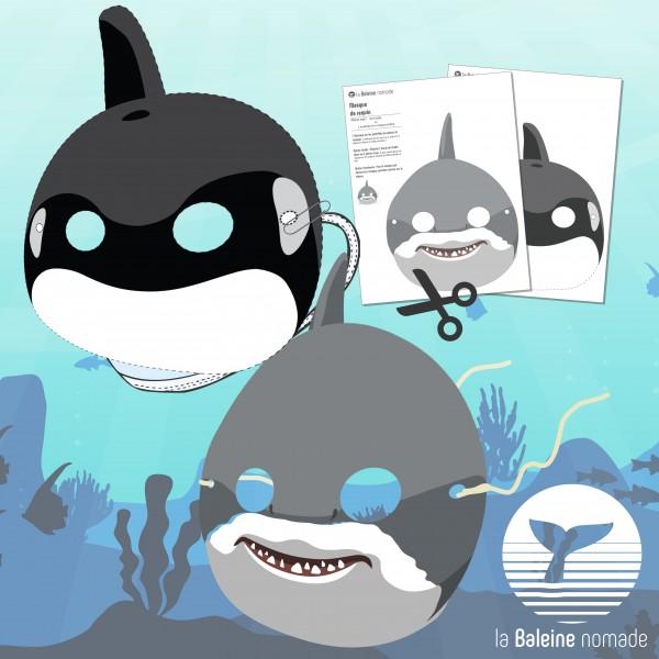 Masques de requin et d'orque