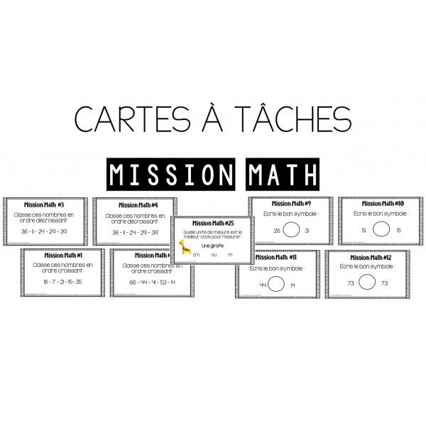 Cartes à tâches - Mission math