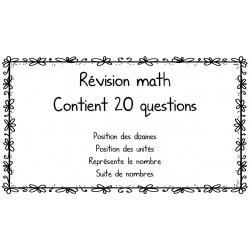 Révision math - unités, dizaines, suite de nombres