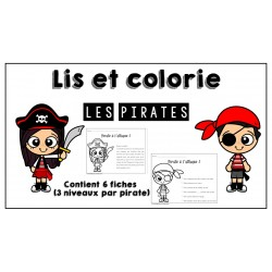 Les pirates - Lis et colorie