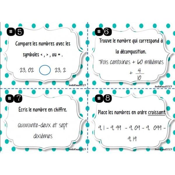Les nombres décimaux- Cartes à tâches