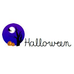 mots d'Halloween (calligraphie cursive)