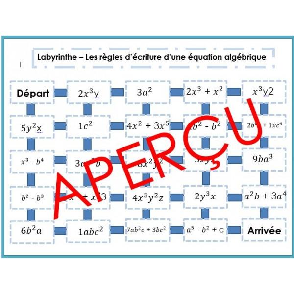 Règles d'écriture algébrique - Labyrinthe