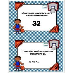 cartes à tâches décomposition basketball 1ère