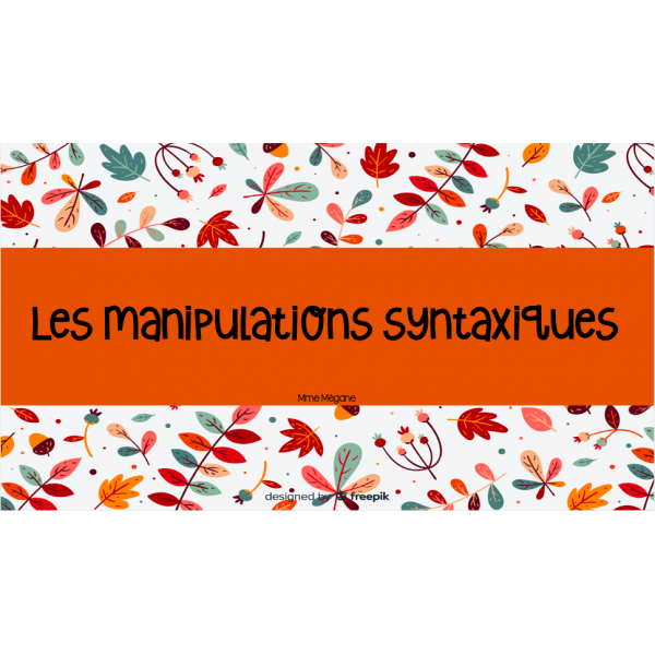 CàT - Les manipulations syntaxiques