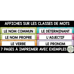 Affiches des classes de mots
