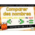 Comparer des nombres - 1 à 30